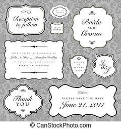 rahmen, vektor, satz, wedding