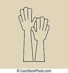 raised., hände, ikone, auf, zeichen