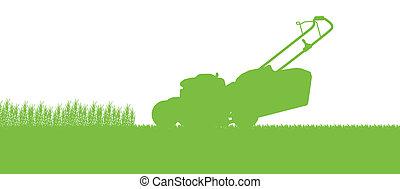 rasenmäher, abstrakt, abbildung, feld, schneiden, traktor, hintergrund, gras, landschaftsbild