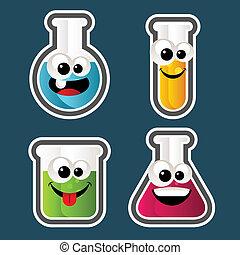 reagenzglas, karikaturen