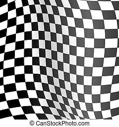 Realistische detaillierte 3D-Rennbahnwave-Flagge Hintergrund. Vector