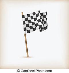 Realistische geprüfte Rennflagge. Vector