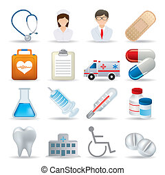 Realistische medizinische Ikonen