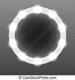 Realistischer Make-up Spiegel mit Glühbirnen. Vector Illustration.