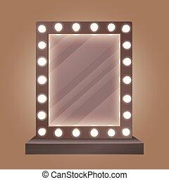 Realistischer Make-up Spiegel mit Glühbirnen Vektorgrafik.