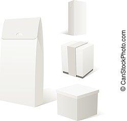 Realistisches Set von vier leeren weißen Kartonpackungen
