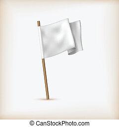 Realistisches Symbol der weißen Flagge. Kapitulation. Bannervorlage. Vector