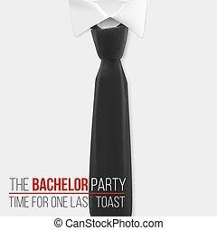 Realistisches Vektorweißhemd. Die Einladungsvorlage für Junggesellenpartys. Vector Mens Hemd mit schwarzer Krawatte