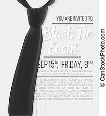 Realistisches Vektorweißhemd. Ein Einladungs-Template. Vector Mens Hemd mit schwarzer Krawatte