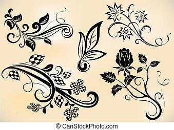 Rebflächen und Blumen entwerfen Vektorelemente.