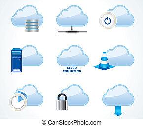 rechnen, wolke, satz, ikone, vektor