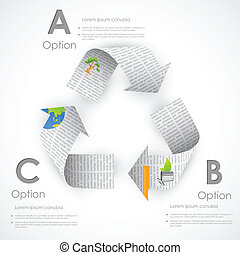Recycle-Symbol aus Zeitung