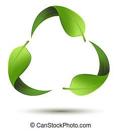 Recycle Symbol mit Blatt.