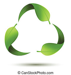 Recycle-Symbol mit Blatt