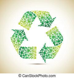 Recyclen mit menschlicher Hand