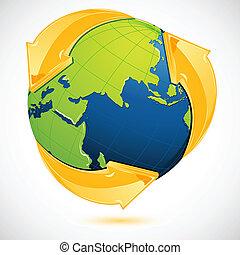 Recyclingsymbol um die Erde