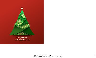 Red Christmas Background mit Weihnachtsbaum aus grünem und funkelpapier