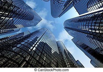 Reflexive Wolkenkratzer, Geschäftsgebäude.
