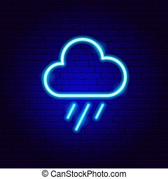 regen, neon zeichen, wolke