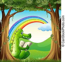 regenbogen, baum, krokodil, unterhalb, unter, lesende