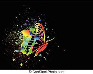 Regenbogen-Ink Schmetterling auf schwarzem Hintergrund. Vector