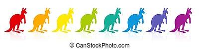 regenbogen, känguruhs, gefärbt