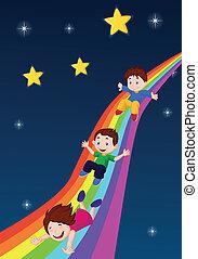 regenbogen, unten, karikatur, kinder, schieben