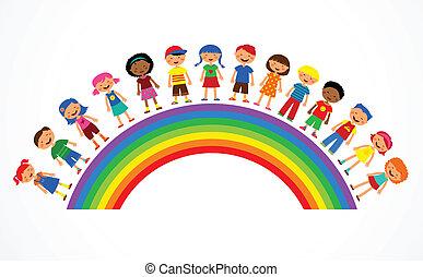 regenbogen, vektor, kinder, abbildung, bunte