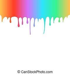 Regenbogenfarbene Farbtropfen.