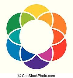 Regenbogenfarbenes Blumen- und Farbrad