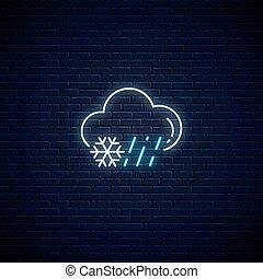 regnerisch, verschneiter , symbol, neon, schnee, regen, prognose, glühen, stil, wetter, icon., wolke