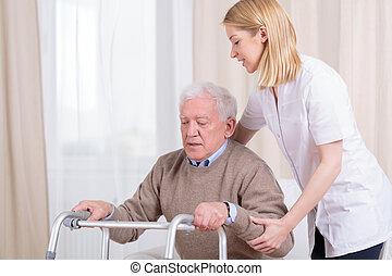 Rehabilitation im Pflegeheim.