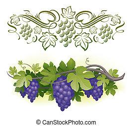 Reibt Trauben auf dem Weinbau und dekorarativer Kalkrean - Vektor Illustration