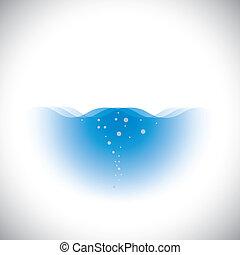 Reines kristallklares blaues Wasser von Ozeanen und Meeren - Vektorkonzept