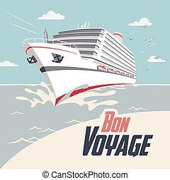 reise, schiff, bon, abbildung, segeltörn