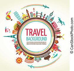 Reise- und Tourismusvektor-Hintergrund