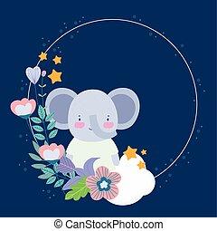 reizend, blumen-, elefant
