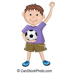 reizend, fußball, spielende , junge