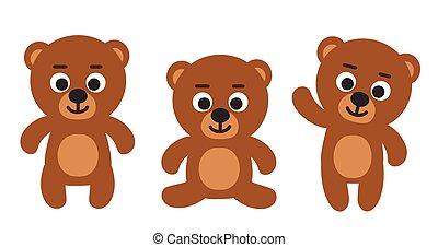 reizend, satz, sitzen, teddybären, -, drei, bär, stehende , lustiges, vektor, waiving, illustrationen, karikatur, emoji