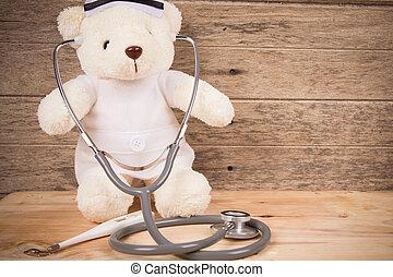 reizend, ton, hölzern, tebby, bär, stethoskop, tragen, hintergrund, thermometer, krankenschwester, weißes