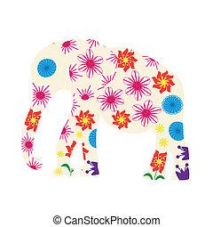 reizend, vektor, silhouette, elefant