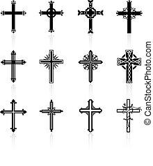religiöses, design, kreuz, sammlung
