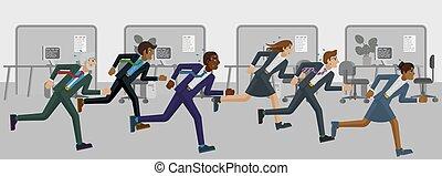 rennender , rennen, begriff, leute, konkurrenz, geschaeftswelt