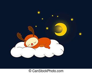 rentier, wolke, eingeschlafen