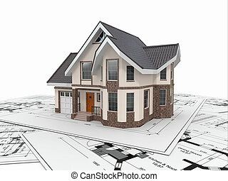 Residential House auf Architekturplänen. Wohnprojekt.