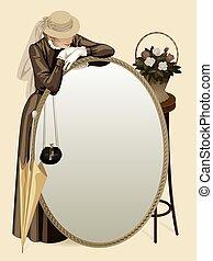 Retro-Frau mit Spiegel.