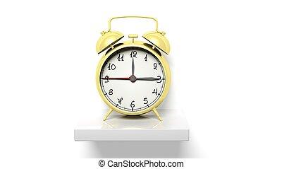 Retro-Gold-Alarmuhr an weißem Wandregal.