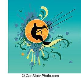 Retro kite surf vektorgrafik.