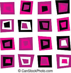 Retro nahtloser Hintergrund oder Muster mit rosa Quadraten