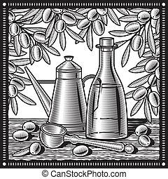 Retro-Olivenöl bleibt Leben